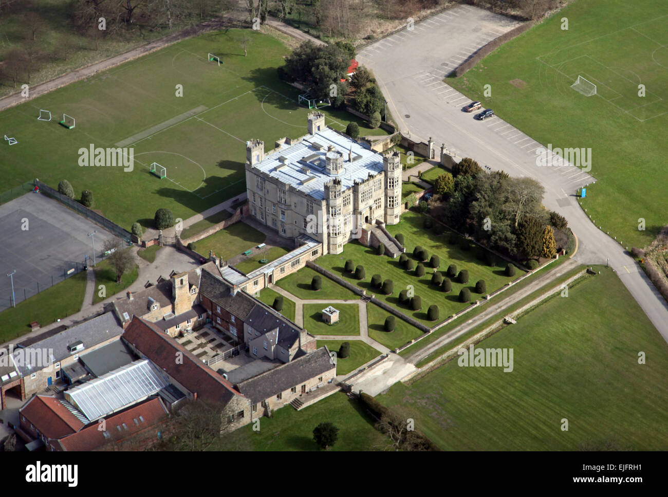 aerial view of Barlborough Hall, a private school near Chesterfield, UK - Stock Image