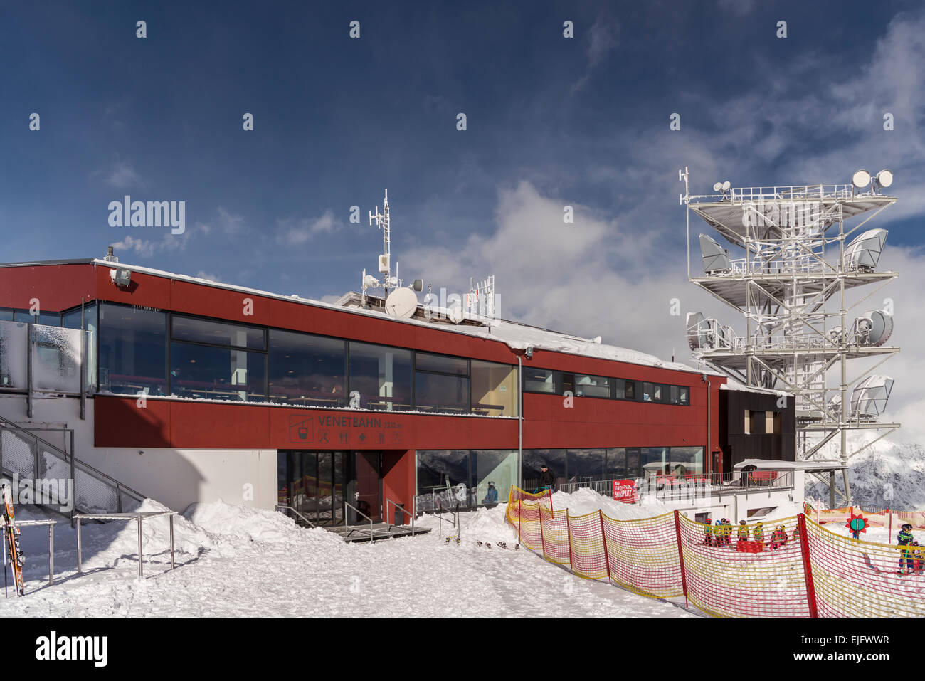 Venetbahn, cable car, mountain station with aerials and a ski nursery, Venet, Zams, Tyrol, Austria - Stock Image