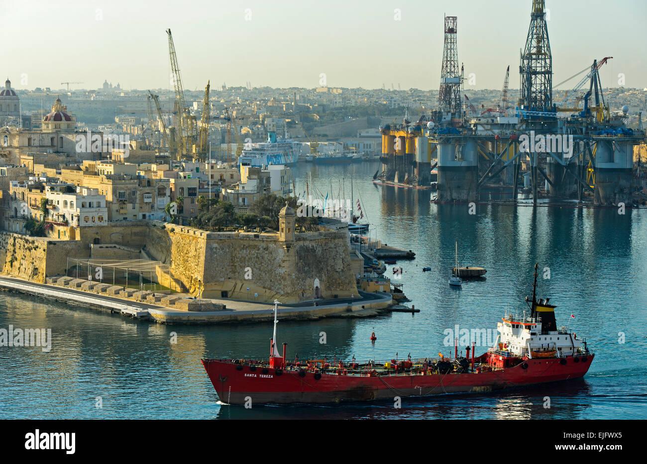 Chemical tanker in the harbor of Santa Tereza Grand Harbour of Valletta, Malta - Stock Image