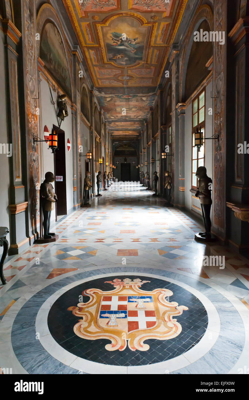 The Armoury Corridor, coat of arms as a marble mosaic on the floor, Grand Masters Palace, Order of the Knights of - Stock Image