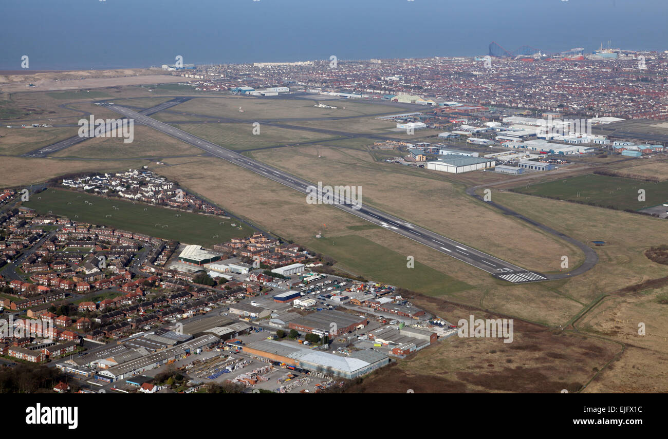 aerial view of Blackpool Airport in Lancashire, UK - Stock Image