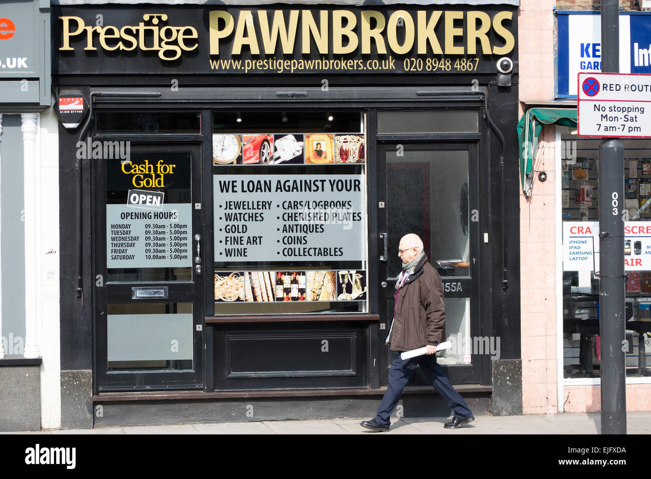 exterior of a branch of prestige pawnbrokers, richmond upon thames, surrey, england - Stock Image