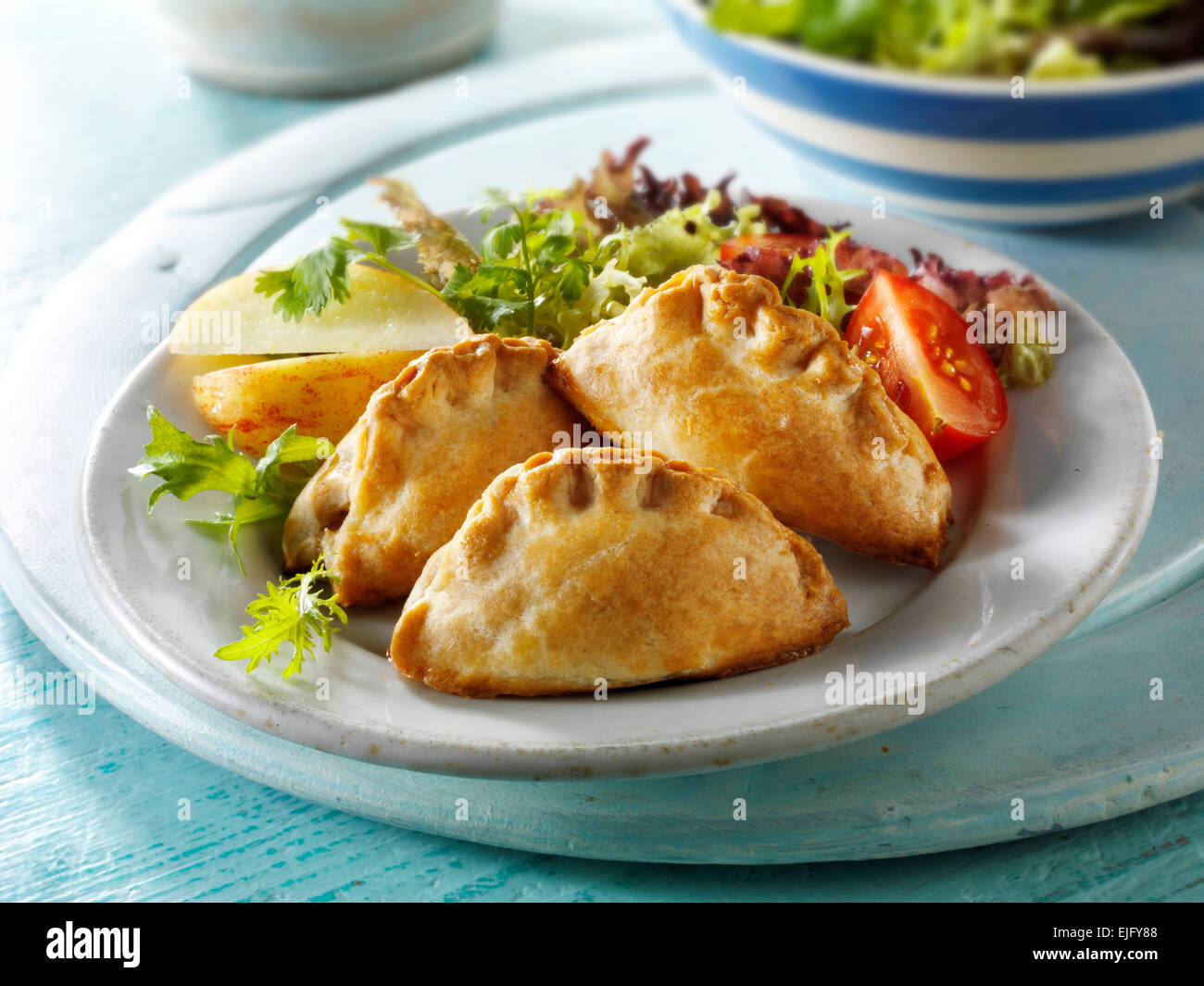 Mini Cornish pasty and salad - Stock Image