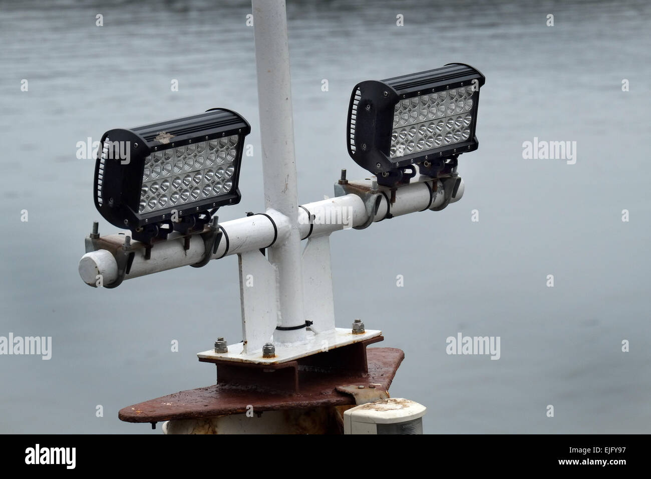 High intensity LED lights in use on ship. - Stock Image