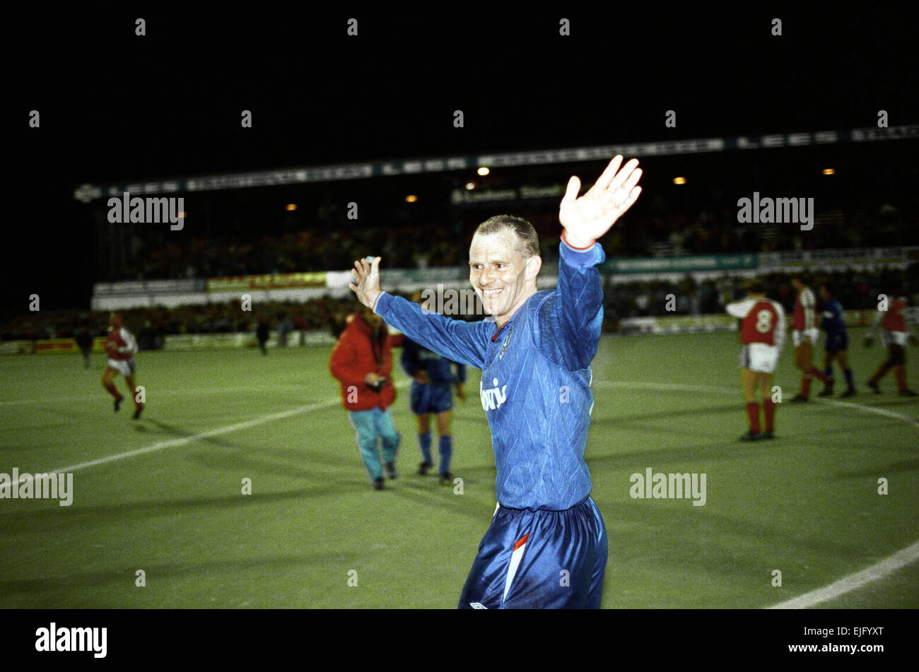 Oldham 3 v. Arsenal 1. Andy Ritchie after the game. 22nd November 1989. - Stock Image