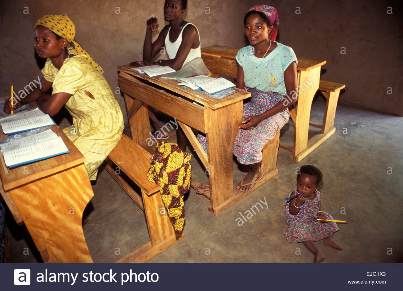 School for adults organized by french association, Togo - Stock Image
