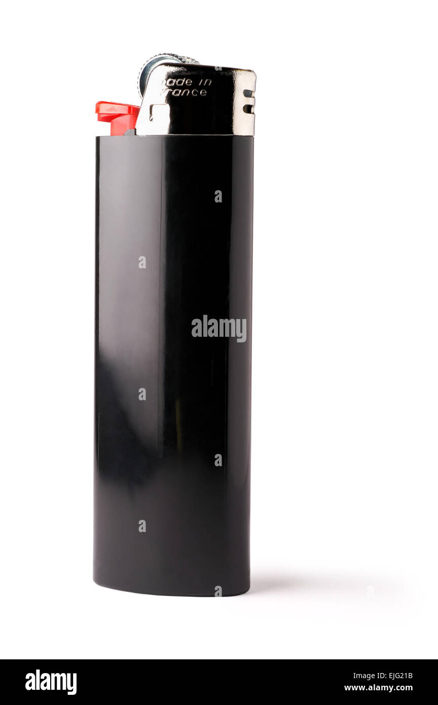 Isolated black lighter with clipping path - Stock Image
