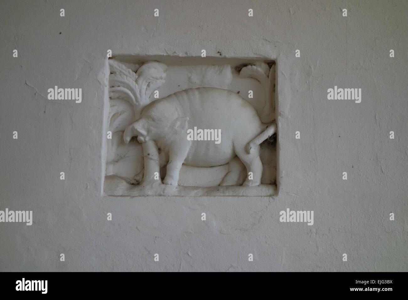 primitive little plaster elephant 17th century ornament in loggia of Bramshill Hampshire UK Zouche family mansion - Stock Image