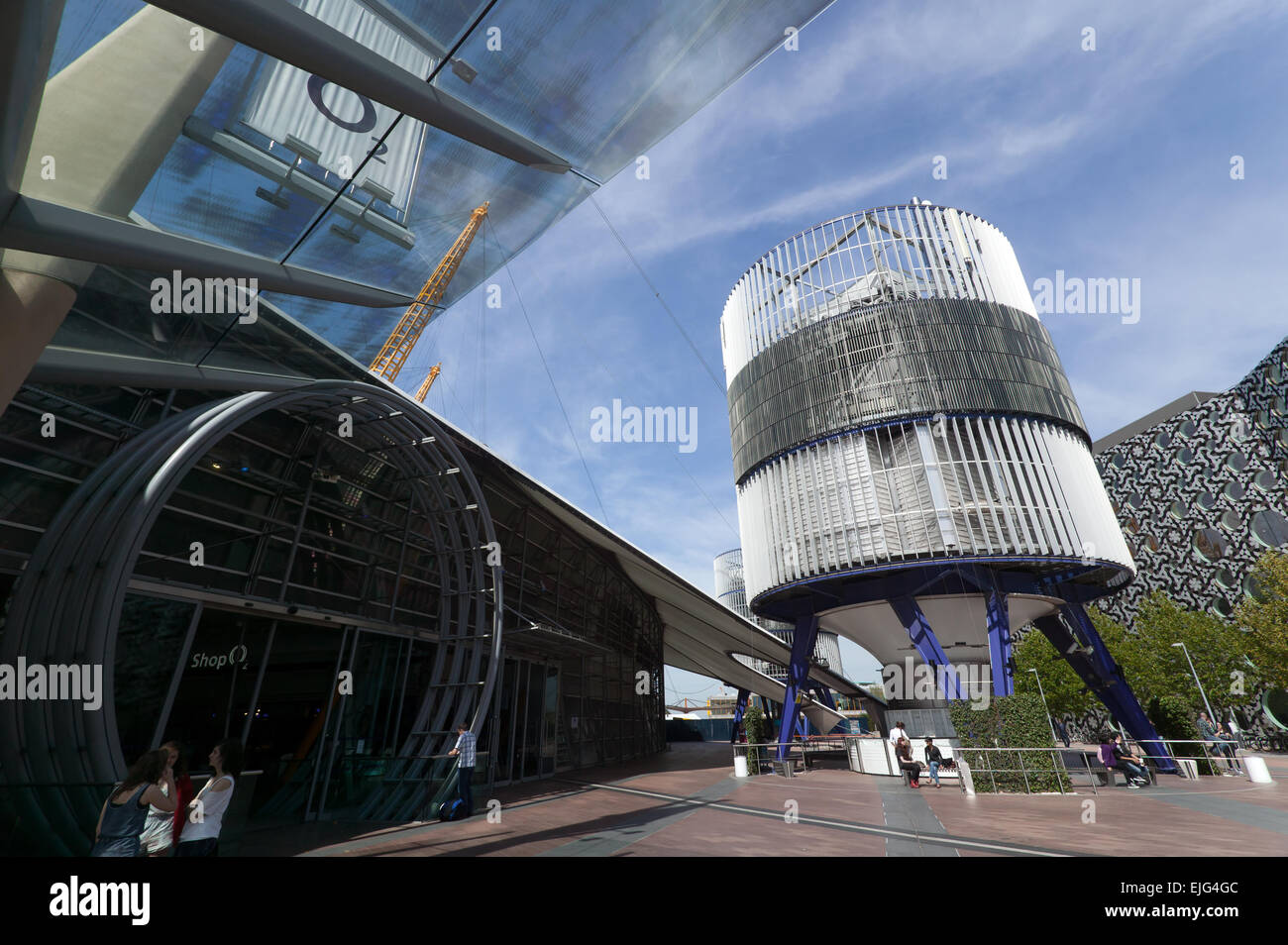 View of Peninsular Square looking towards the entranced to the O2 arena, on  the  Greenwich peninsula. - Stock Image