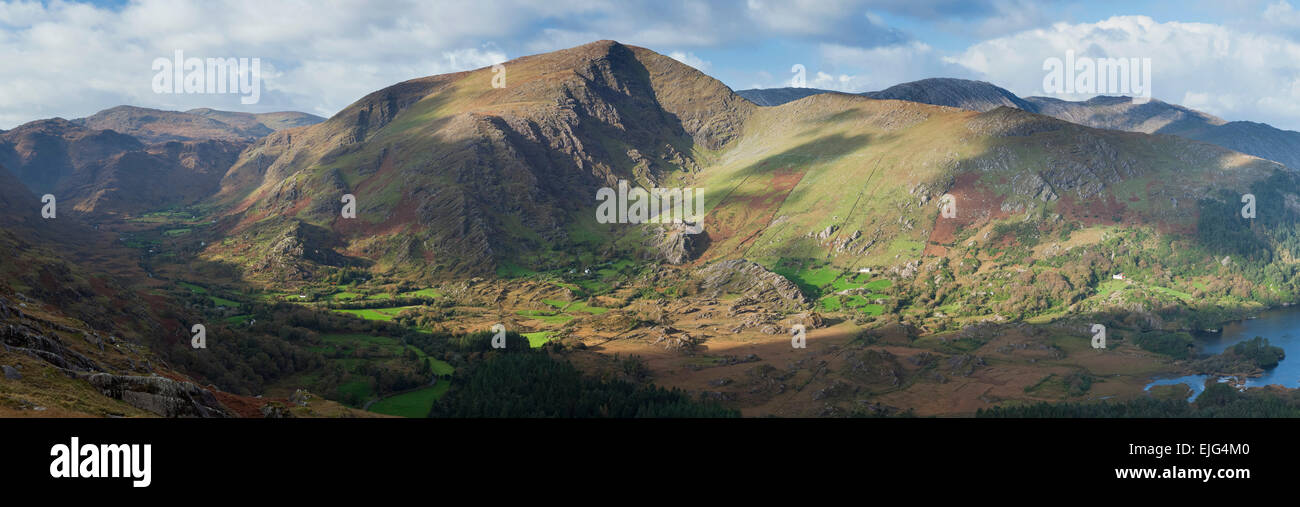 Panorama of the Glanmore Valley, Beara Peninsula, County Kerry, Ireland. - Stock Image