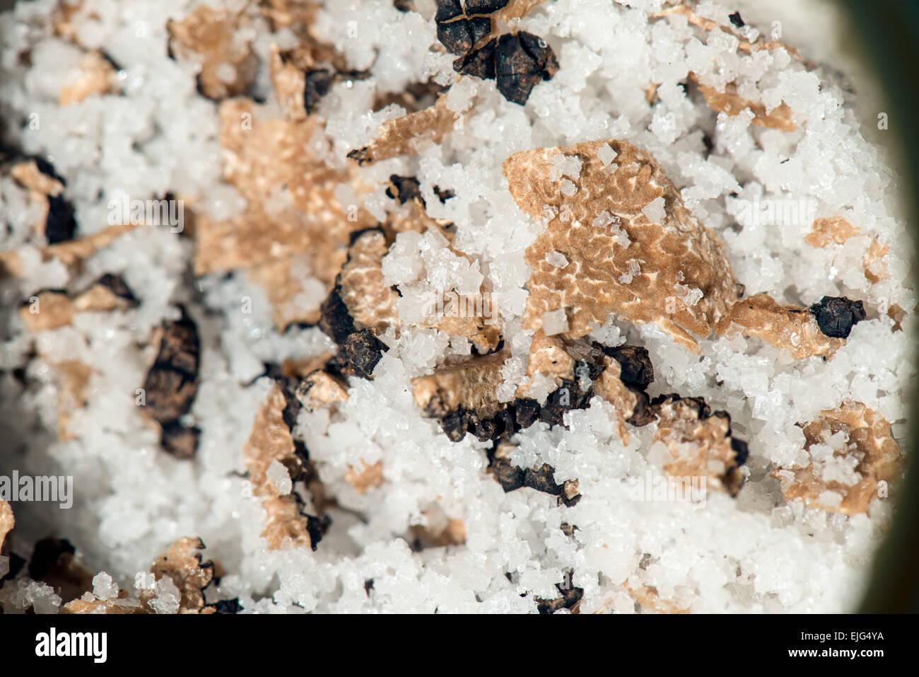 Burgund Truffles cut in half and preserved with salt Perigord noir Dordogne France - Stock Image