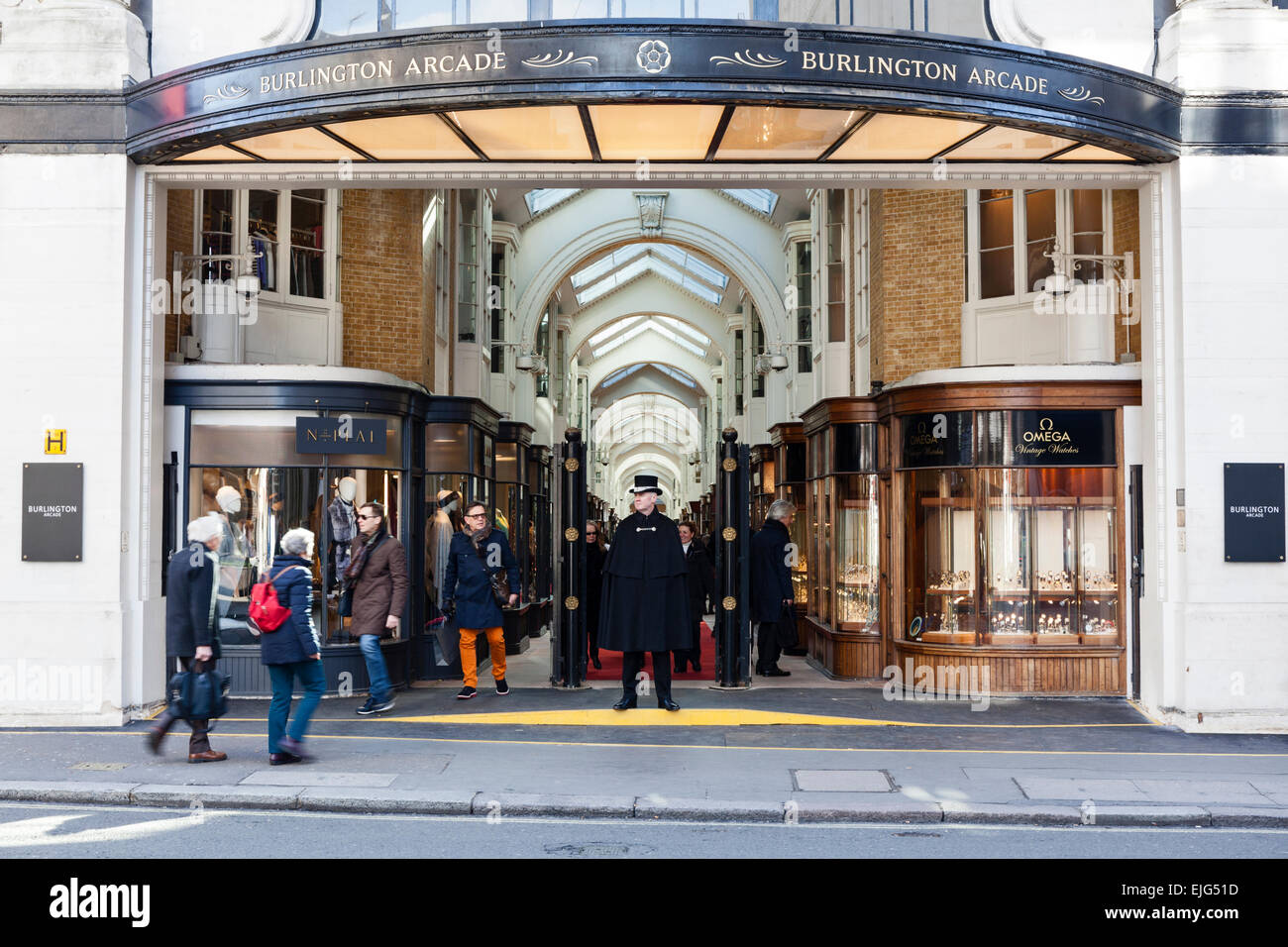 Burlington Arcade is a luxury shopping destination in the West End of London, England. - Stock Image