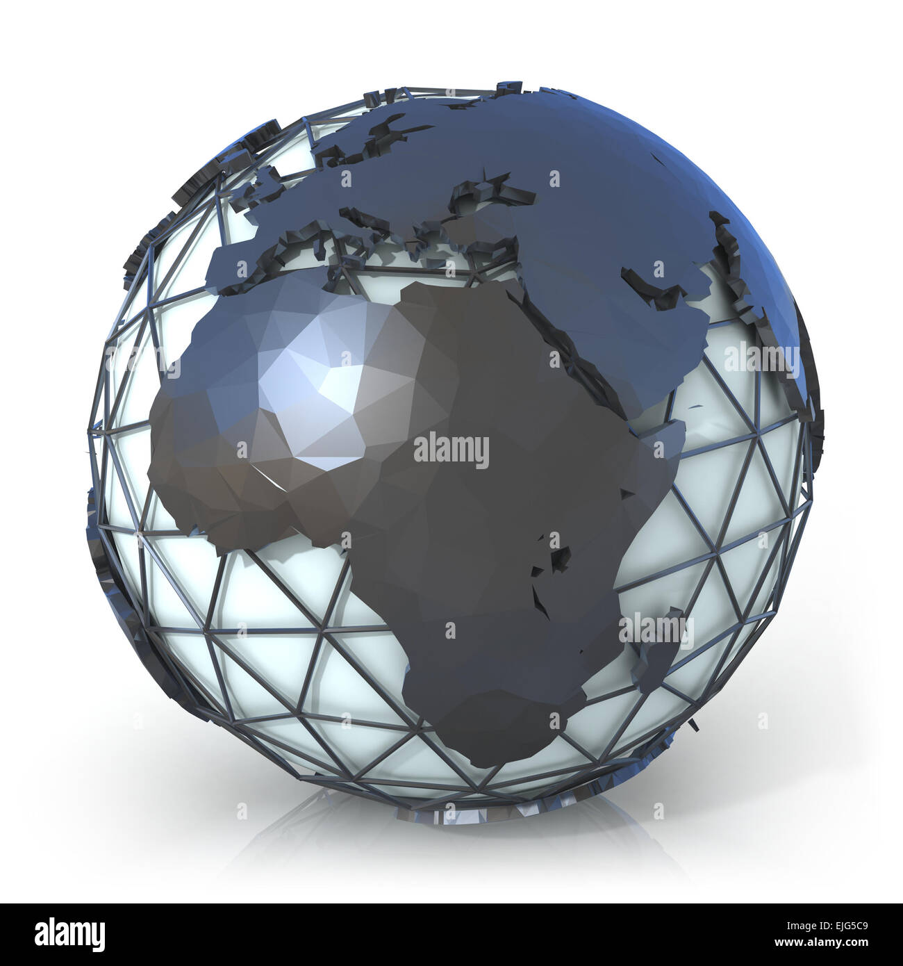 Polygonal style illustration of earth globe, Europe and Africa view - Stock Image