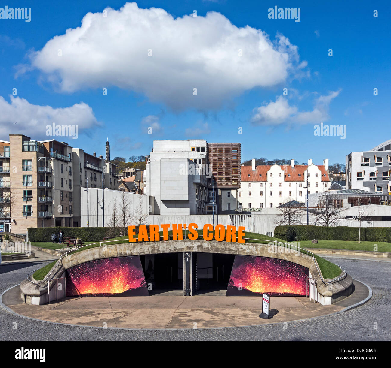 Entrance to Earth's Core at Our Dynamic Earth Edinburgh Scotland with The Scottish Parliament behind. - Stock Image