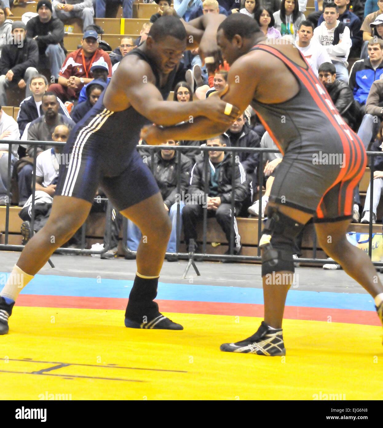 U.S. Army World Class Athlete wrestler Dremiel Byers, right ...