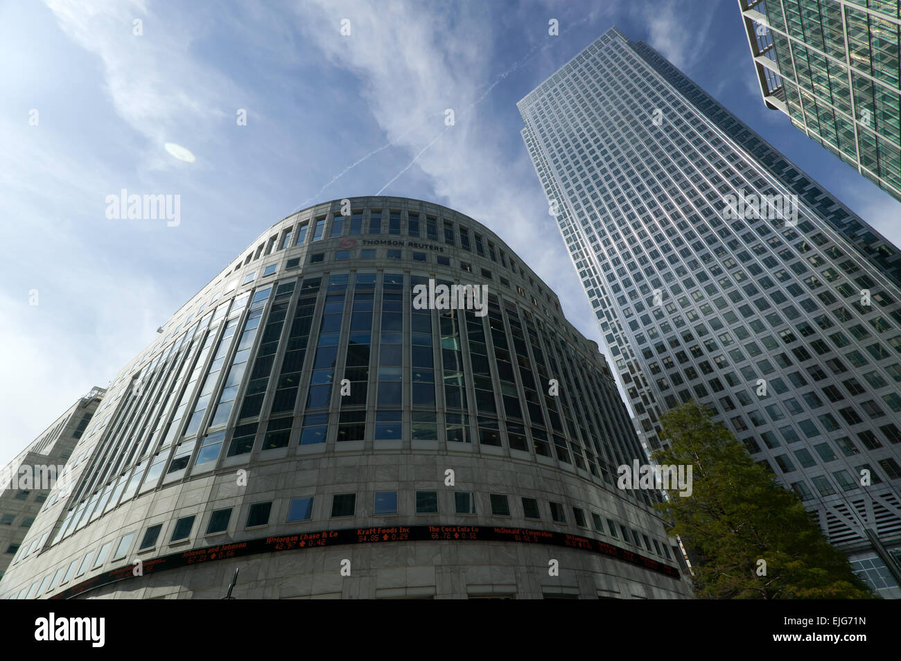 Wide-Angle view of One Canada Square  and the Thompson Reuters Building. - Stock Image