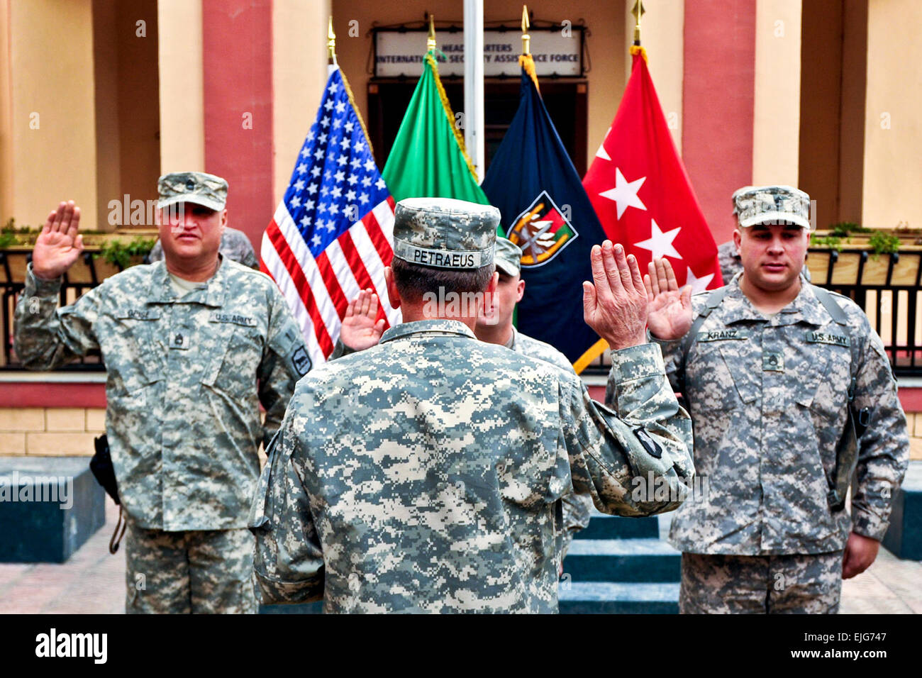 Gen. David H. Petraeus, commander of NATO and International Security Assistance Force troops in Afghanistan, administers Stock Photo