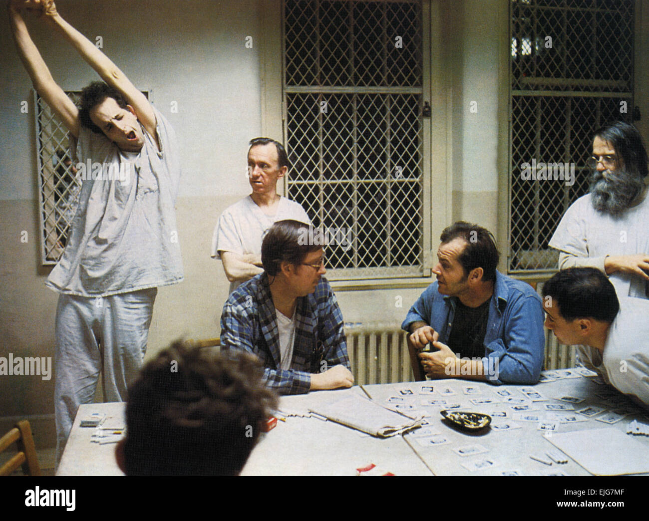 ONE FLEW OVER THE CUCKOO'S NEST 1975 Fantasy Films production with Jack Nicholson third from right - Stock Image