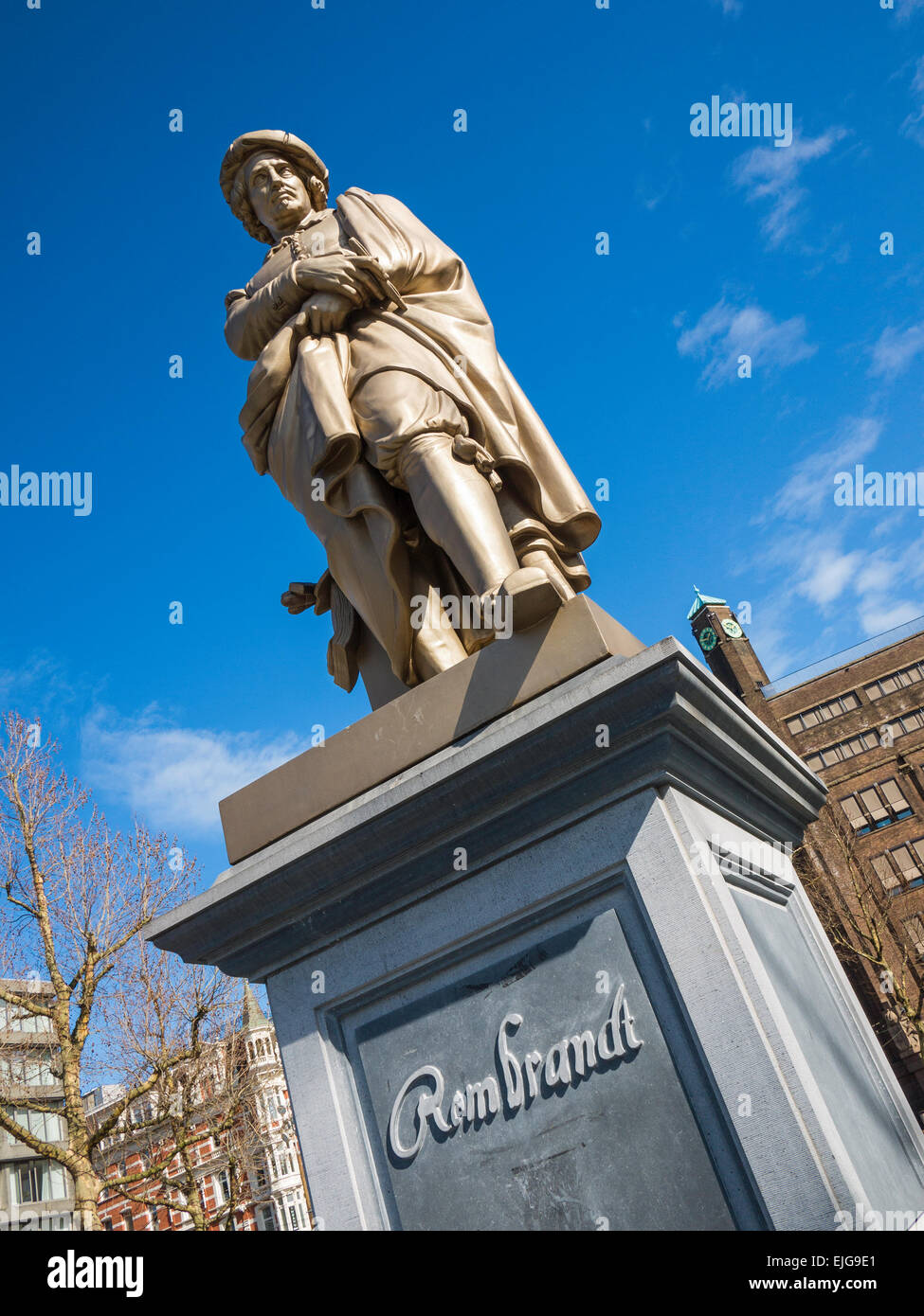 Statue of the painter Rembrandt van Rijn by Louis Royer, in Rembrandtplein square in Amsterdam, Holland - Stock Image