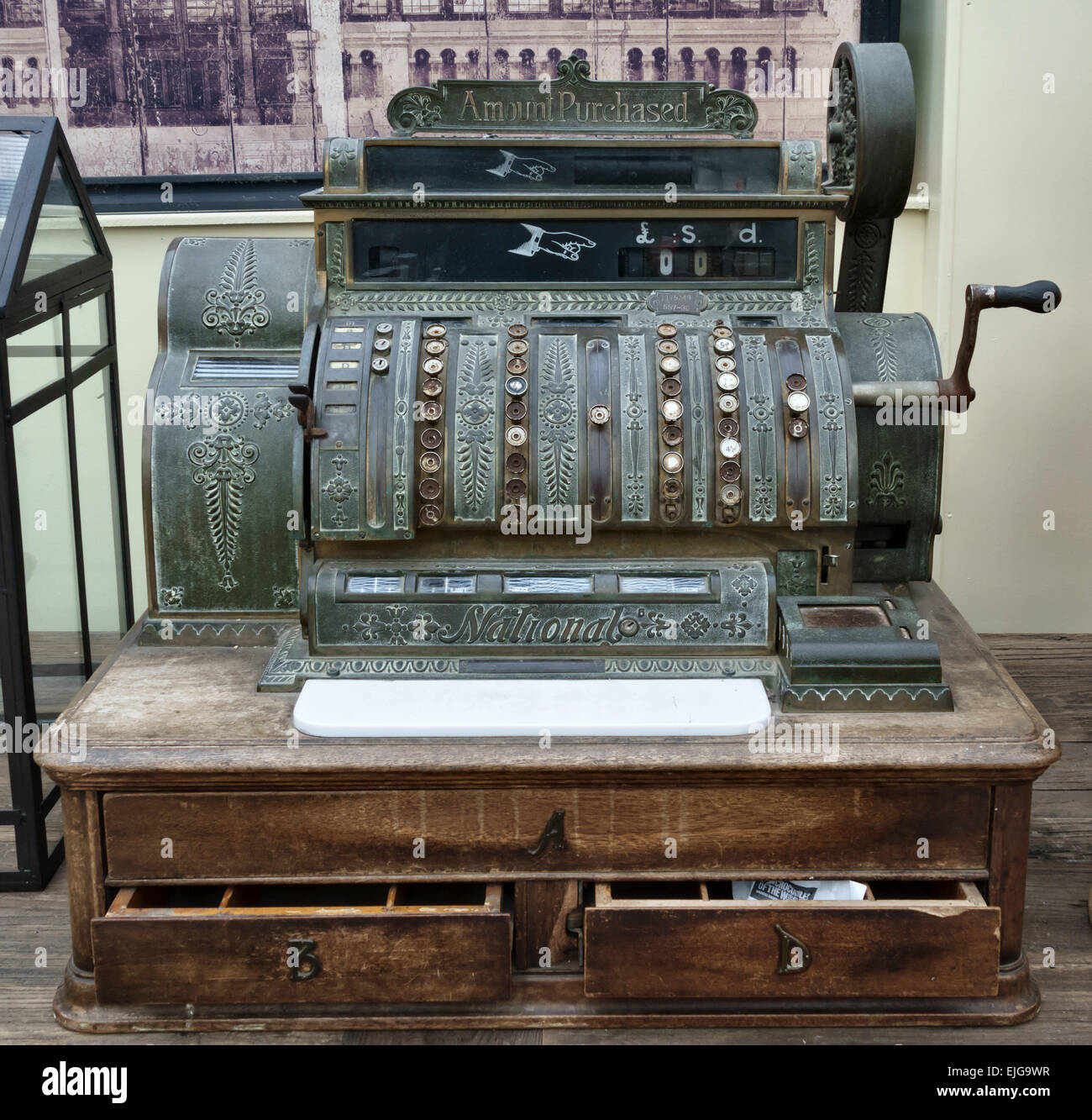 An old mechanical cash register or till, manufactured around 1910 by the National Cash Register company - Stock Image