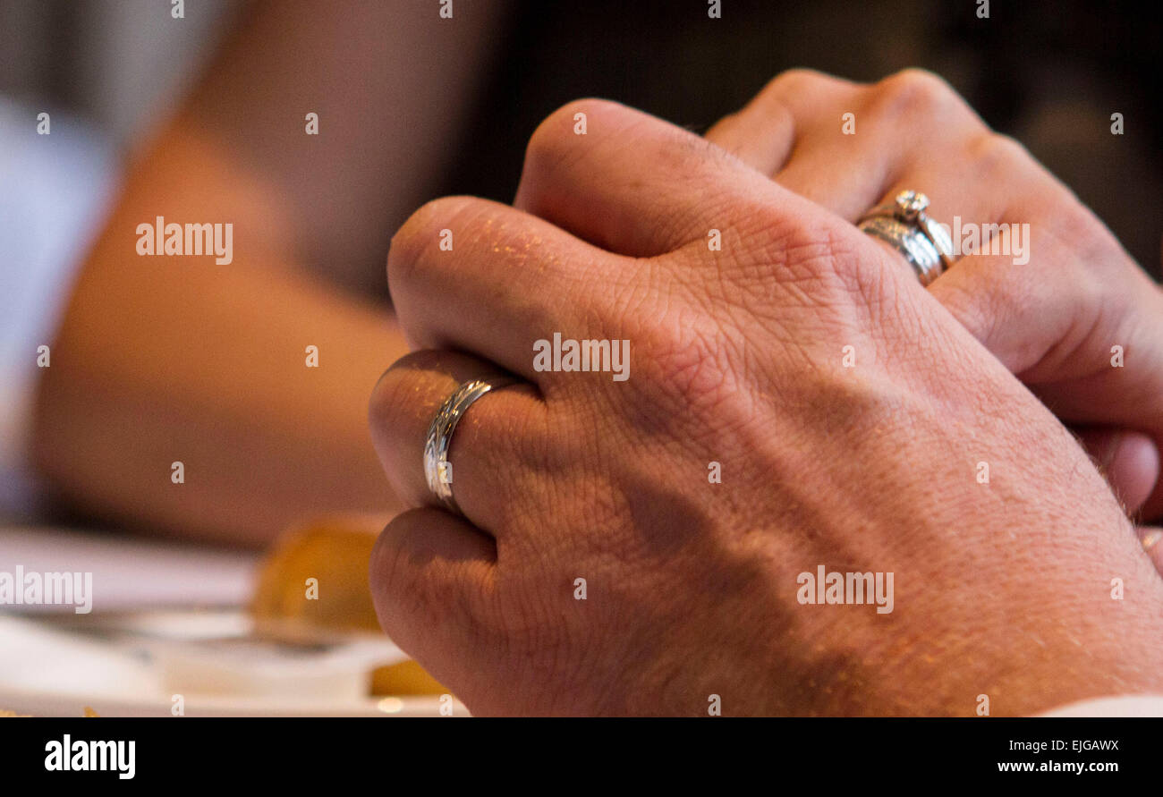 ring, Bride and groom, exchanging, exchanging rings, adult, agreement, bridegroom, hands, couple, happy couple, - Stock Image