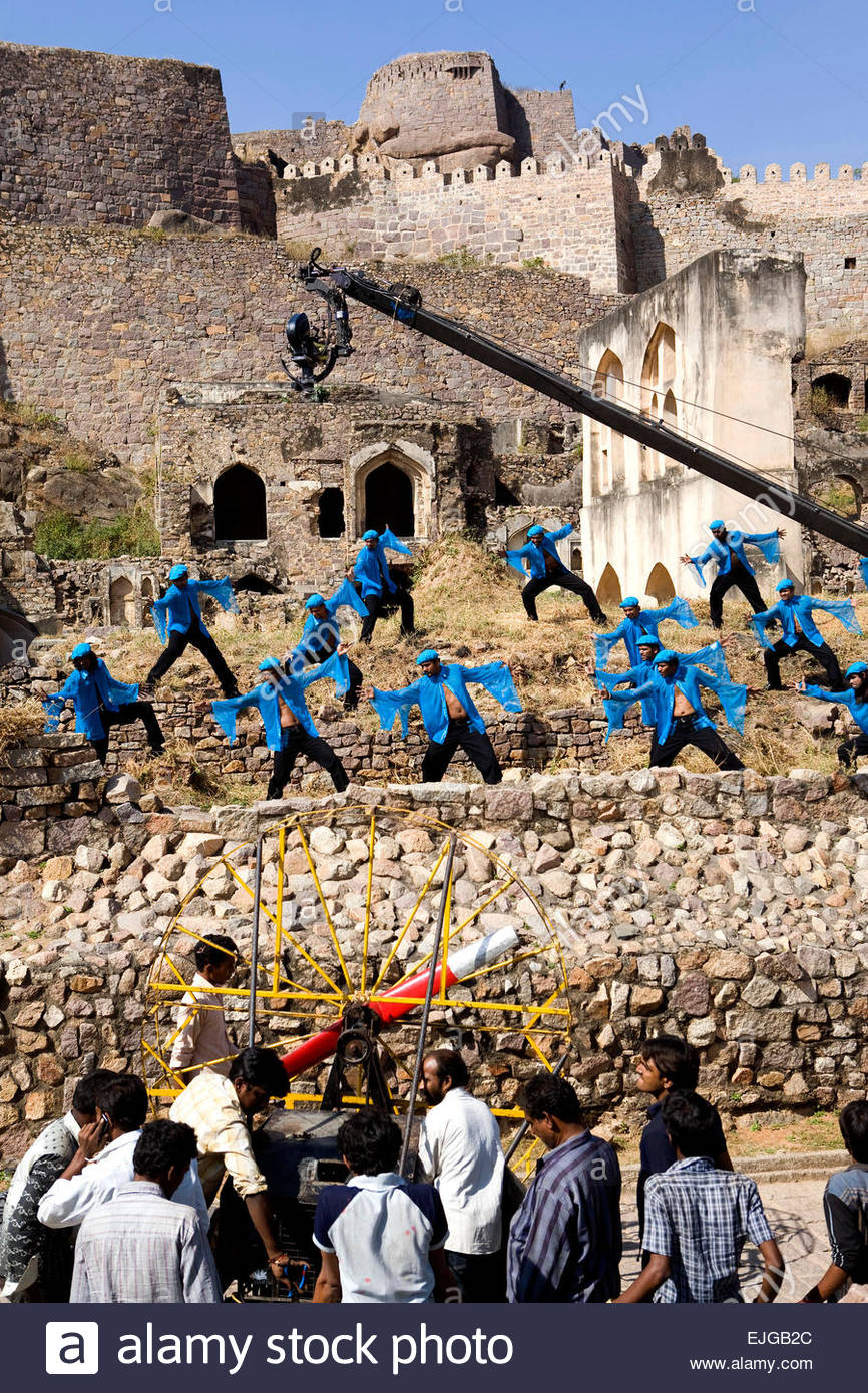 A Bolliwood film, Golconda Fort, Hyderabad. - Stock Image