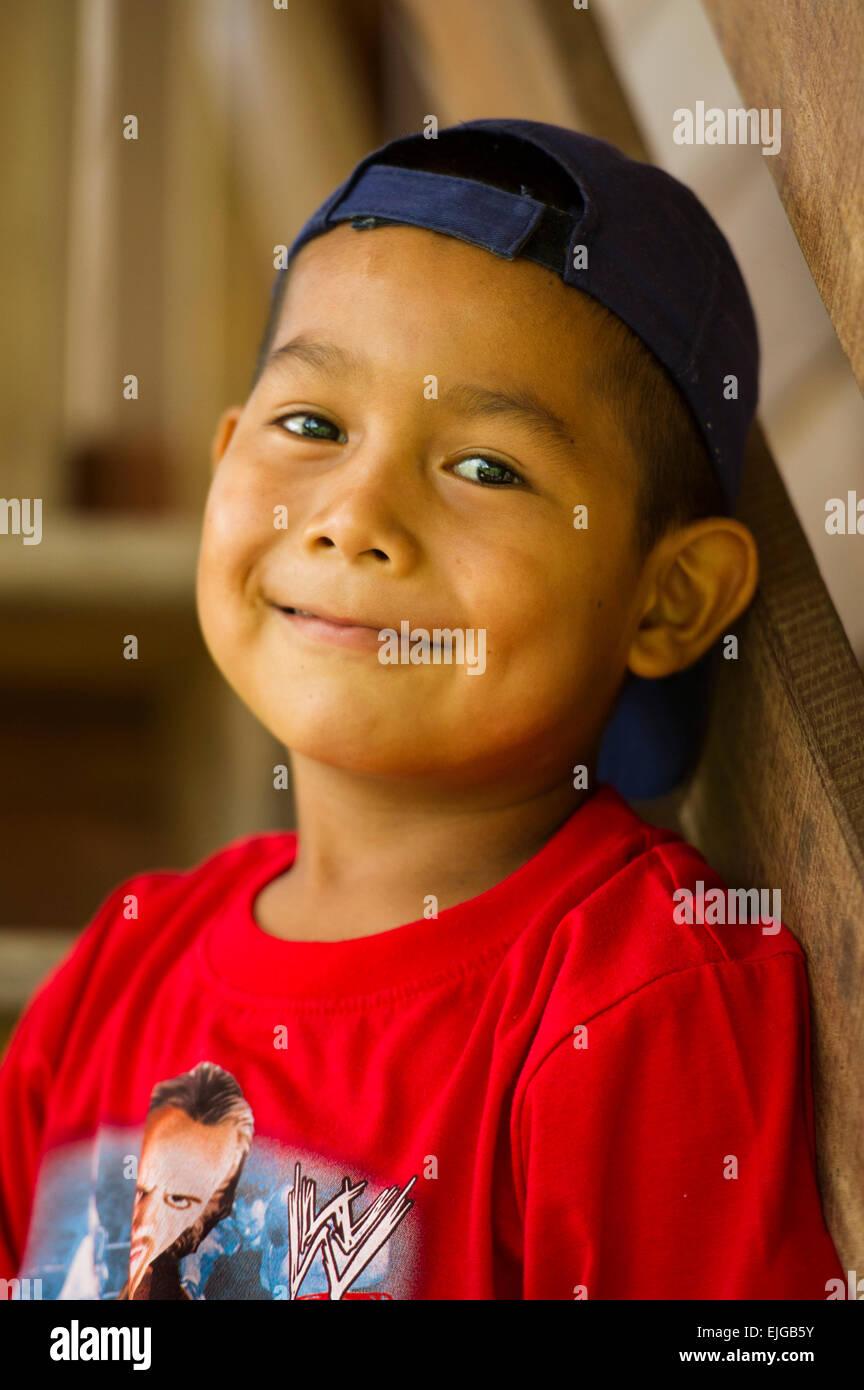 Amerindian boy, Apura, Suriname - Stock Image