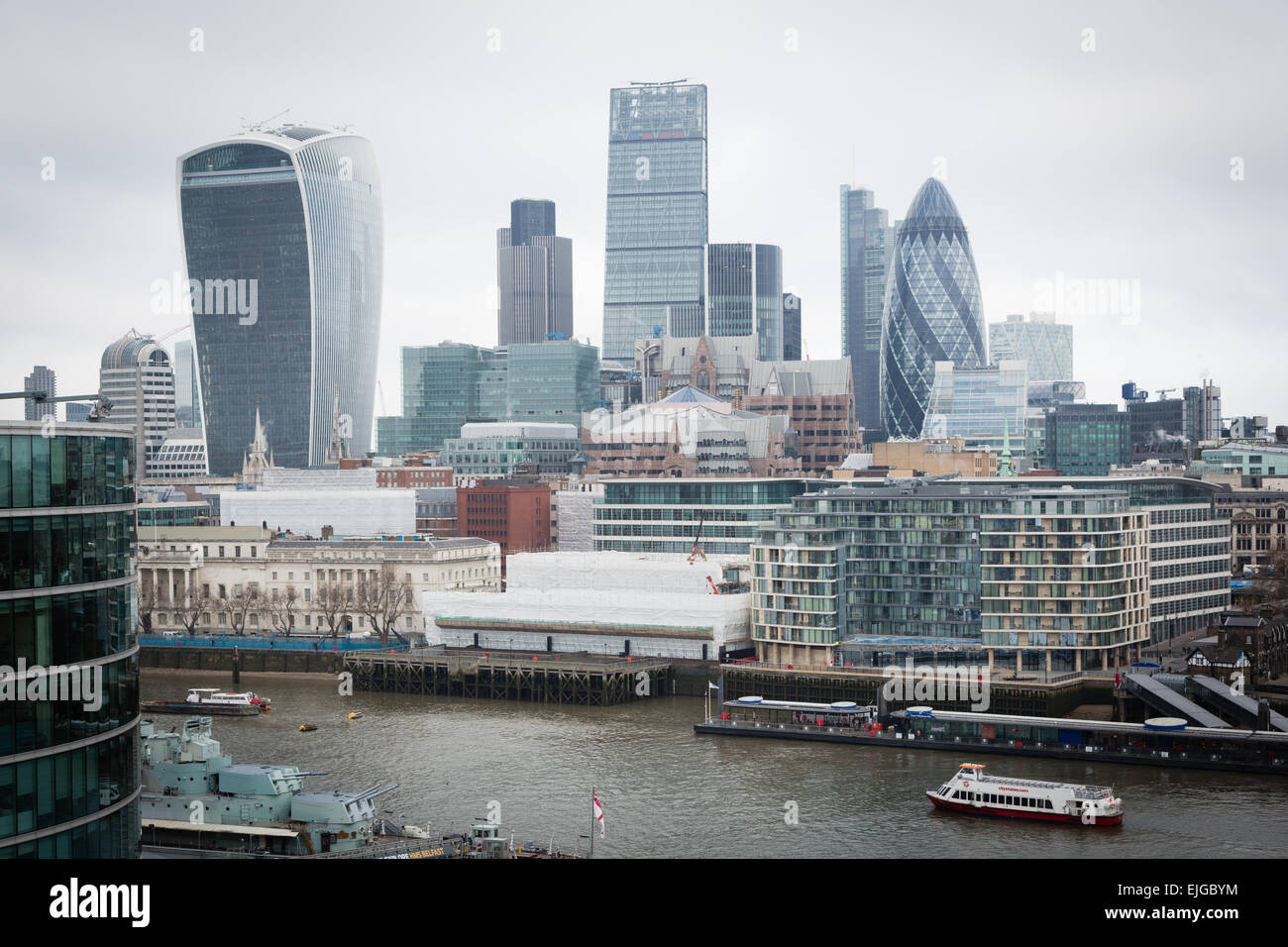 Skyscrapers in the City of London seen from Tower Bridge area on the South Bank - Stock Image