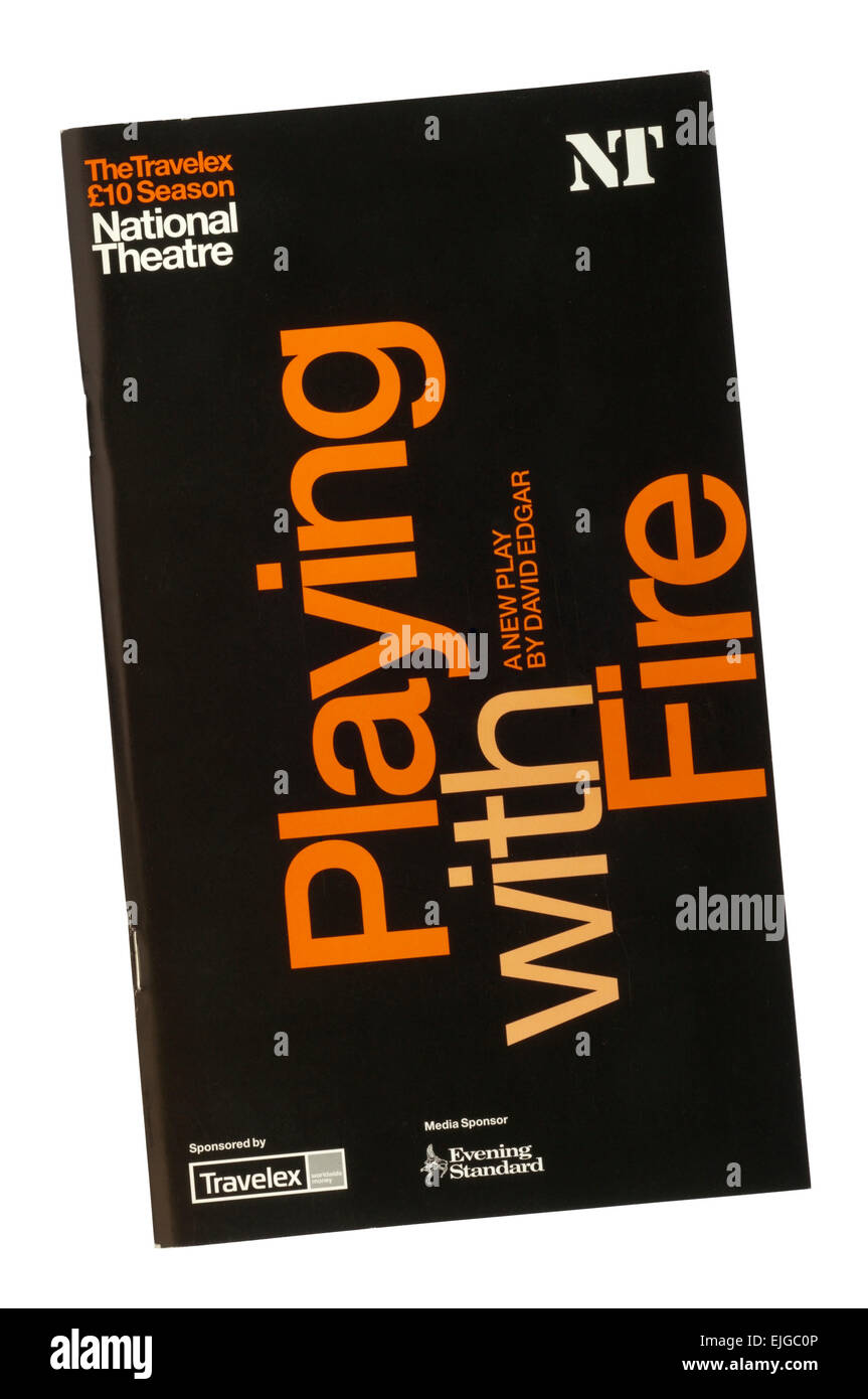 Programme for the 2005 production of Playing With Fire by David Edgar at the Olivier Theatre. - Stock Image