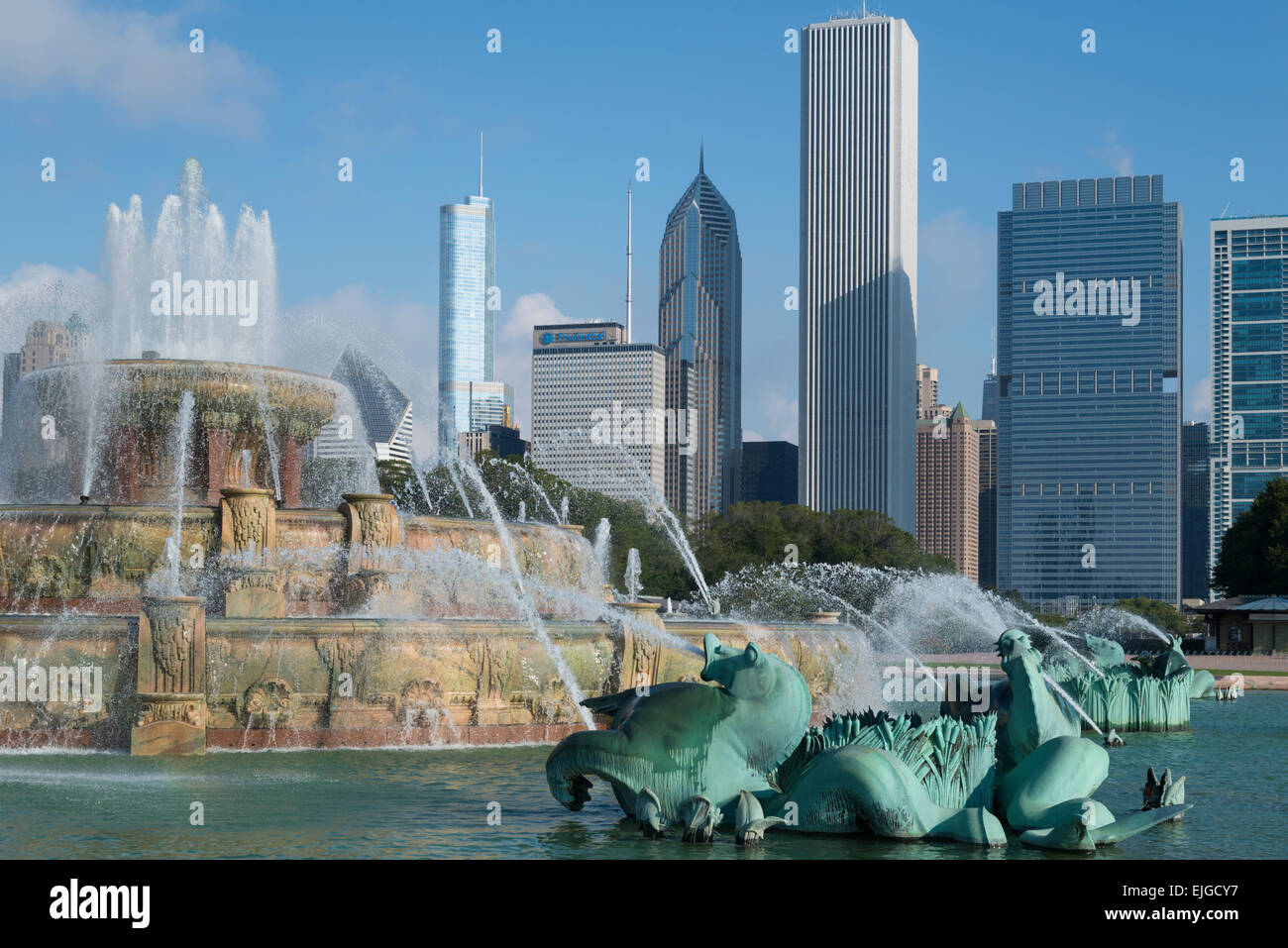 Buckingham fountain. Downtown Chicago. Illinois. USA - Stock Image