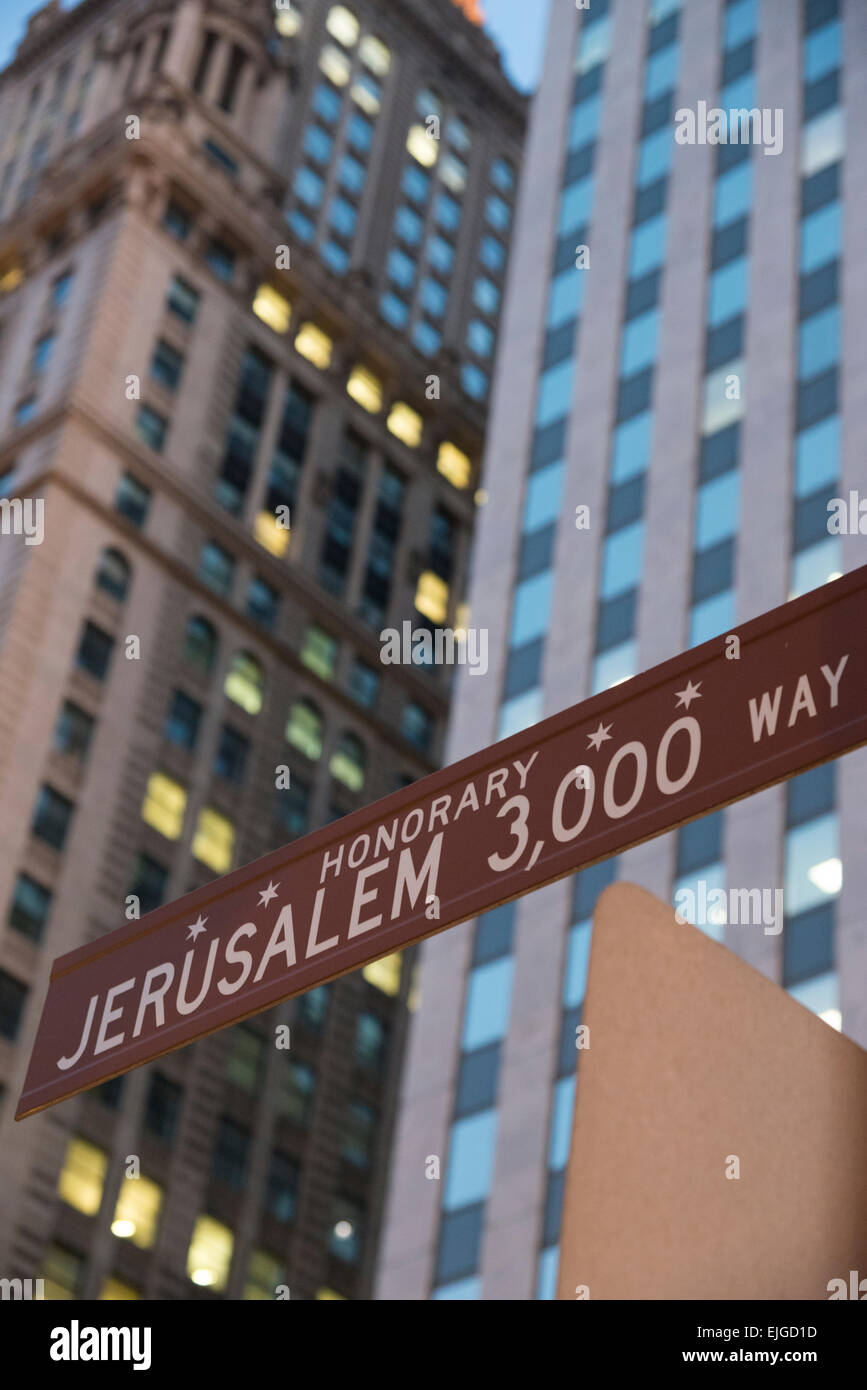 Honorary street signe for Jerusalem. Downtown Chicago. Illinois. USA. - Stock Image