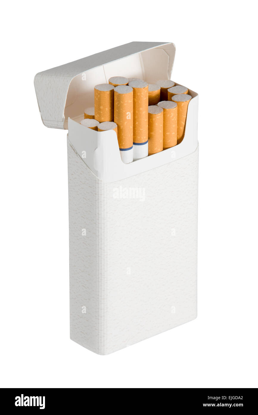 Photo of a pack of filtered cigarettes with blue rings.  Oblique view with a few cigarettes sticking out of box. - Stock Image