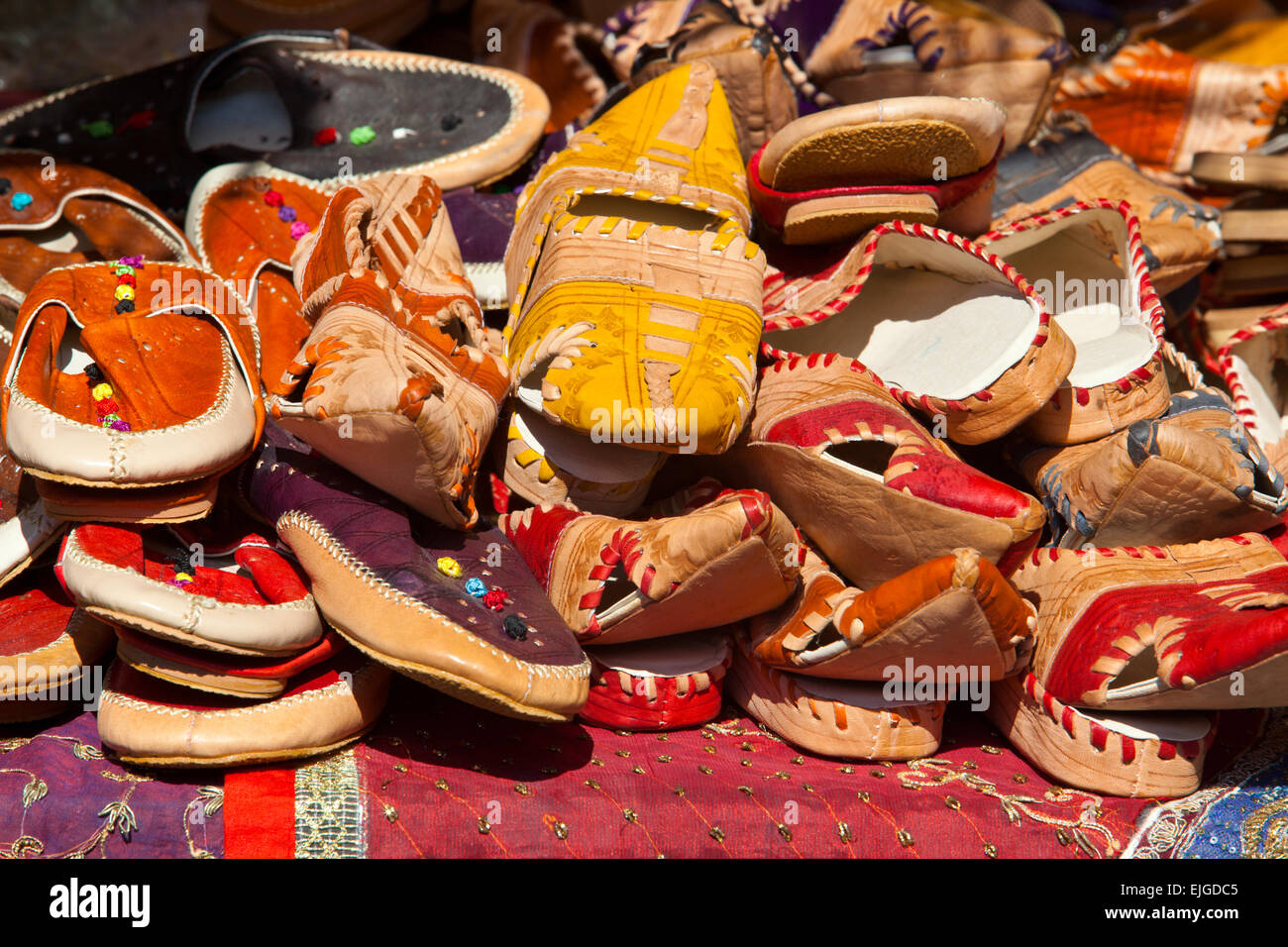 935512ab7bc4 Loads of multicoloured Moroccan leather slippers Stock Photo ...