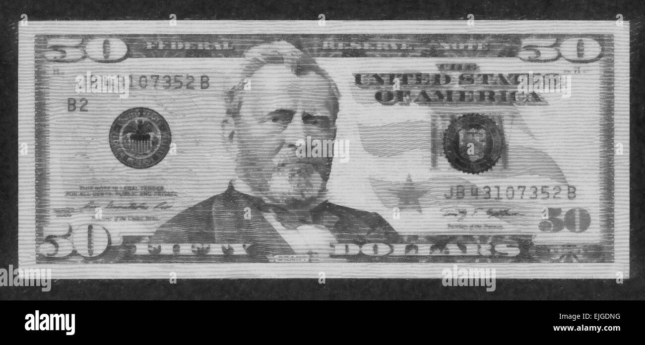 5182653e7c27 Fifty Dollar Bill Black and White Stock Photos   Images - Alamy