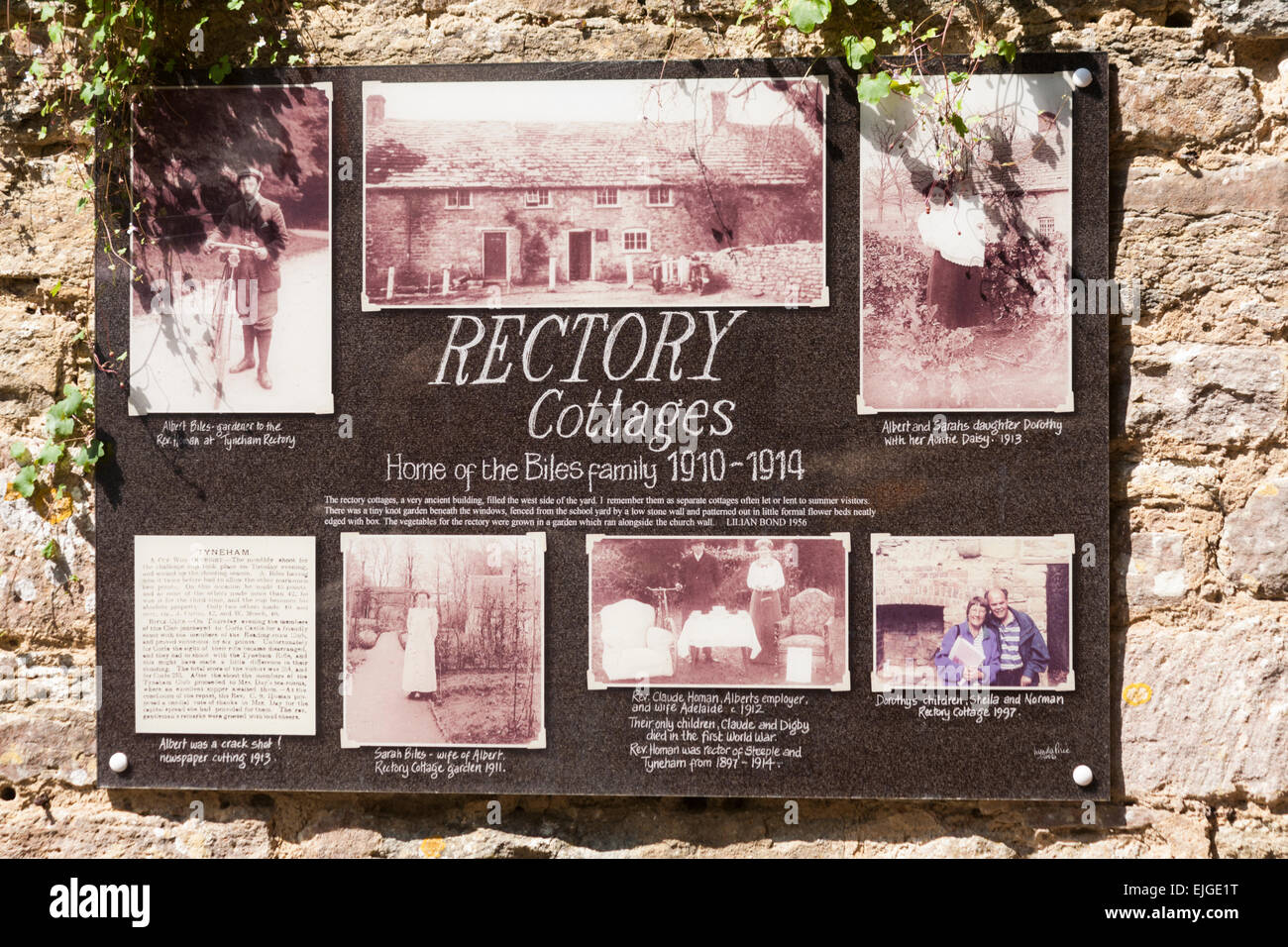 Notice board with information about Rectory Cottages Home of the Biles family 1910 - 1914 at Tyneham Village, Dorset - Stock Image