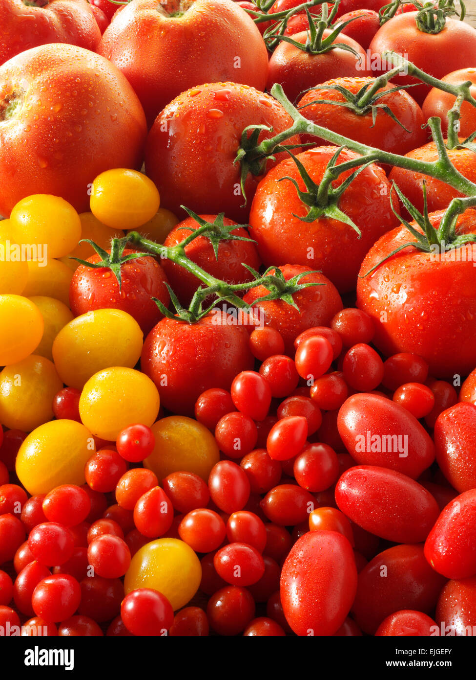 mixed fresh whole tomatoes Stock Photo