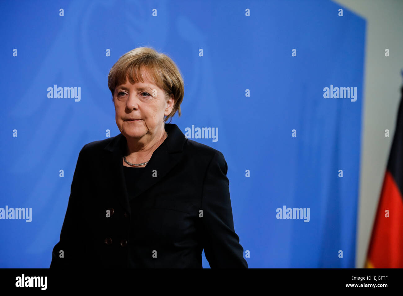 Berlin, Germany. 26th Mar, 2015. German chancellor give a statement after the terrible new news about the airplane - Stock Image