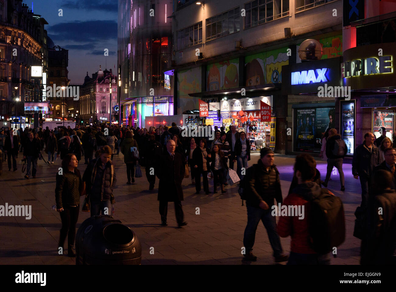 London Leicester Square at night - Stock Image