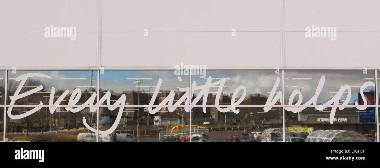 COATBRIDGE, SCOTLAND, UK - 24 MARCH 2015: 'Every little Helps' sign - Tesco Extra Store - Stock Image