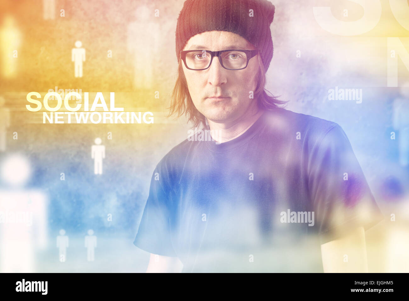 Social Networking Concept with Casual Man and blurred people in the background - Stock Image