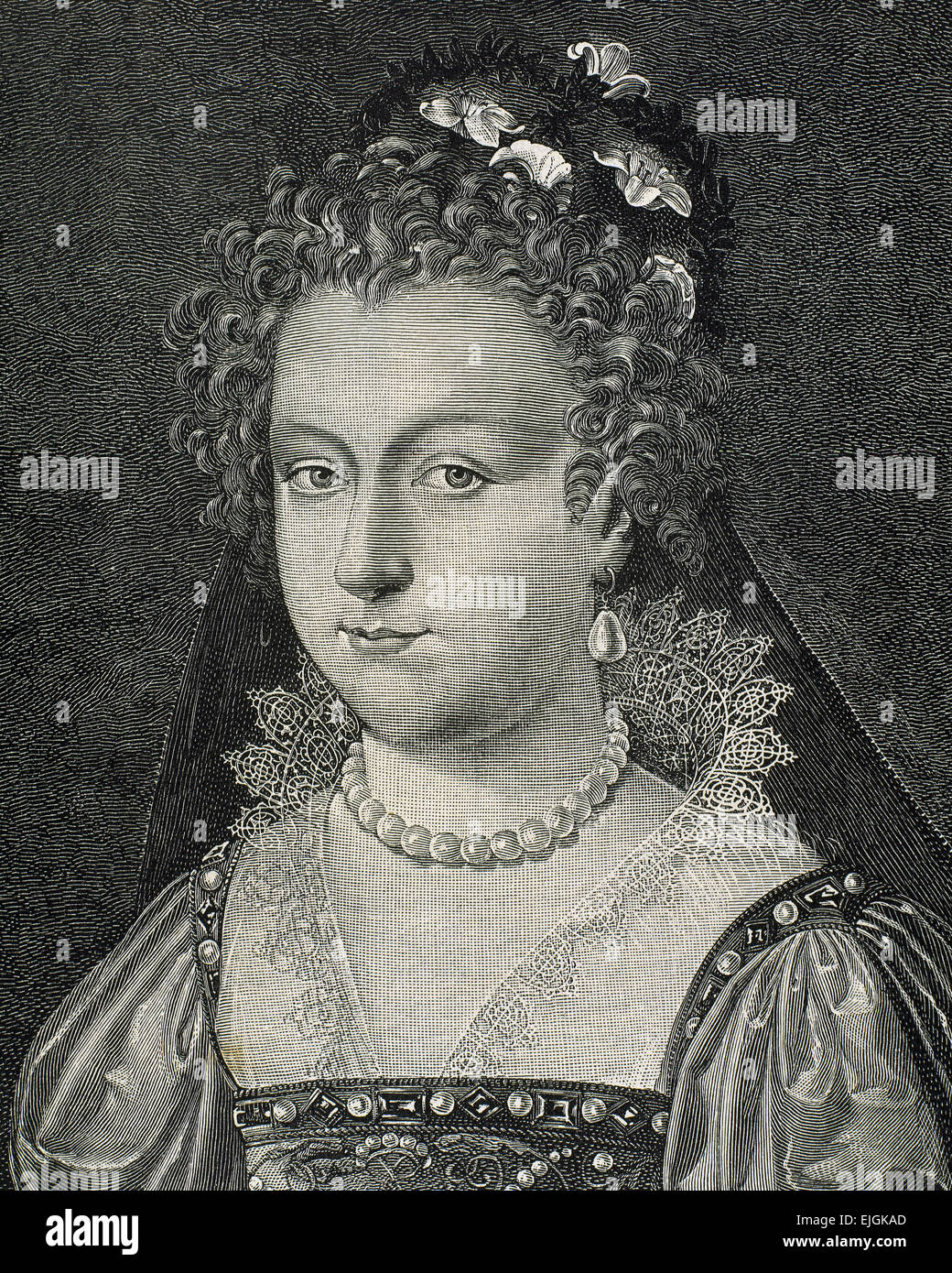 Elizabeth I (1533-1603). Queen of England and Ireland. Called The Virgin Queen. House of Tudor. Engraving. Portrait. - Stock Image