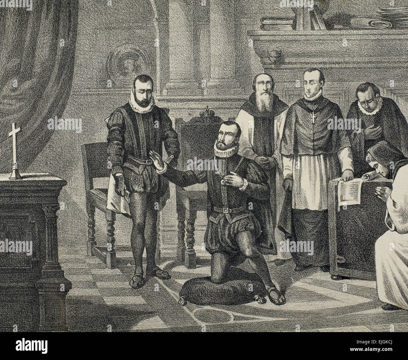 Philip II of Spain (1527-1598). House of Habsburg. King imploring God. Engraving. 19th century. Stock Photo
