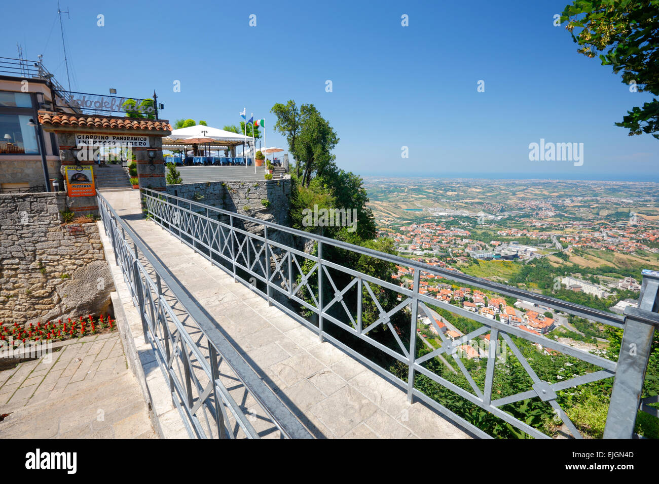 San Marino -  viewpoint from the top to the Adriatic sea. - Stock Image