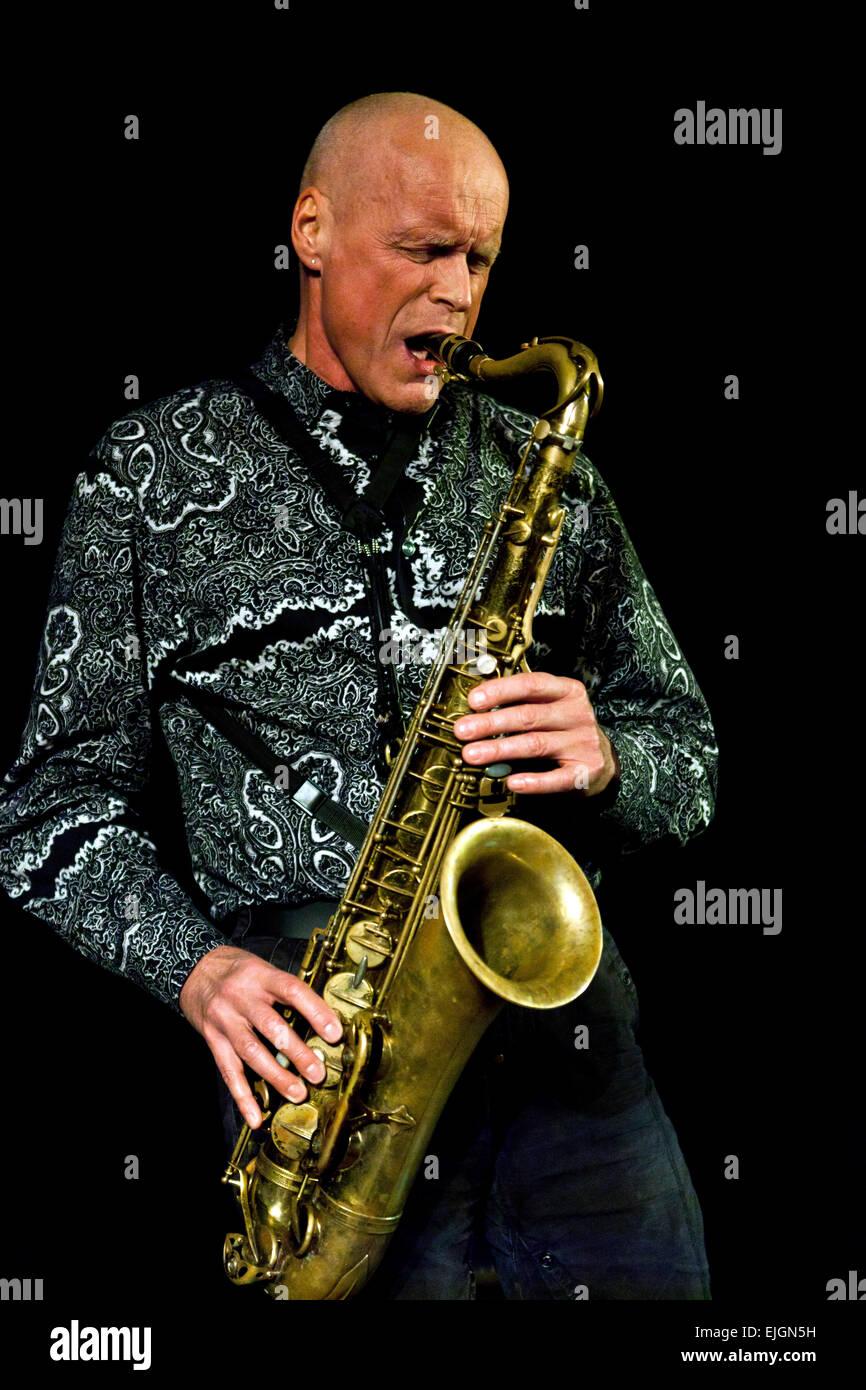 German musician, Gebhard Ullmann,  performing Sunday February 8th, 2015, at venue Koncertkirken in Copenhagen, both - Stock Image