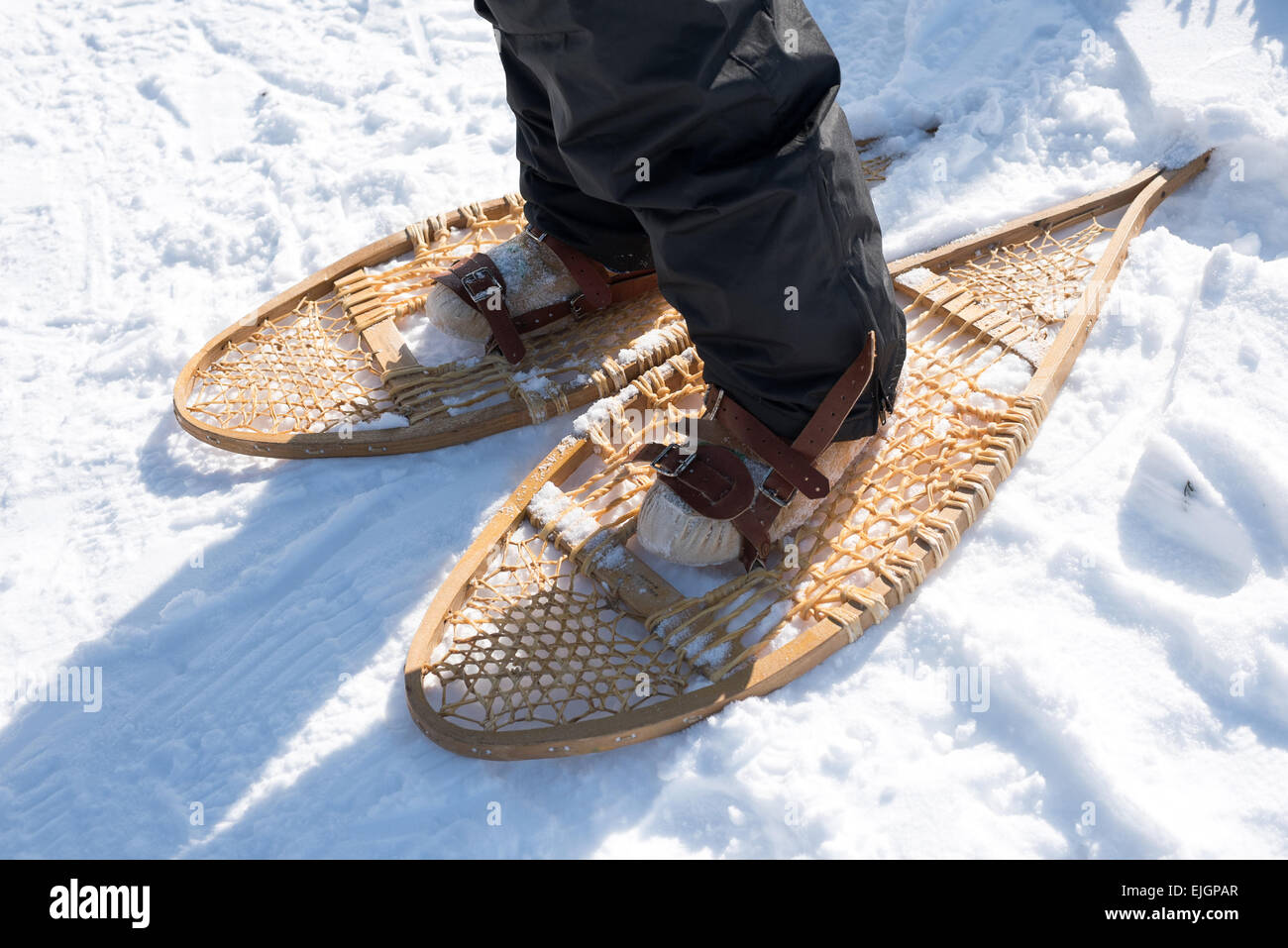 Traditional native snowshoes Quebec Canada - Stock Image