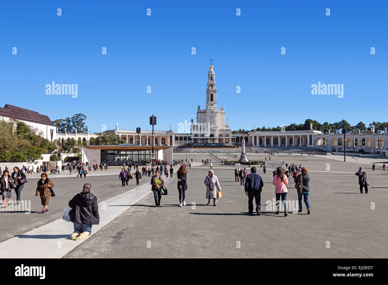 Devout walking the Penitential Path on knees and pilgrims. Our Lady of Rosary Basilica and Chapel of Apparitions - Stock Image