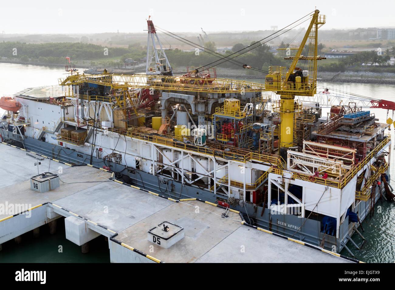 The Glen Affric tender barge for oil drilling docked at Port Klang