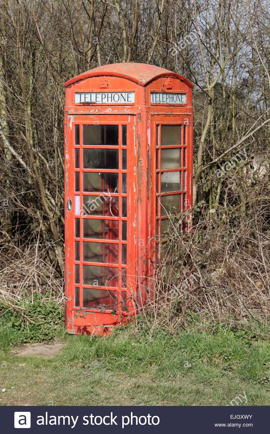 Red Telephone Box, Fradley, Staffordshire, England UK - Stock Image