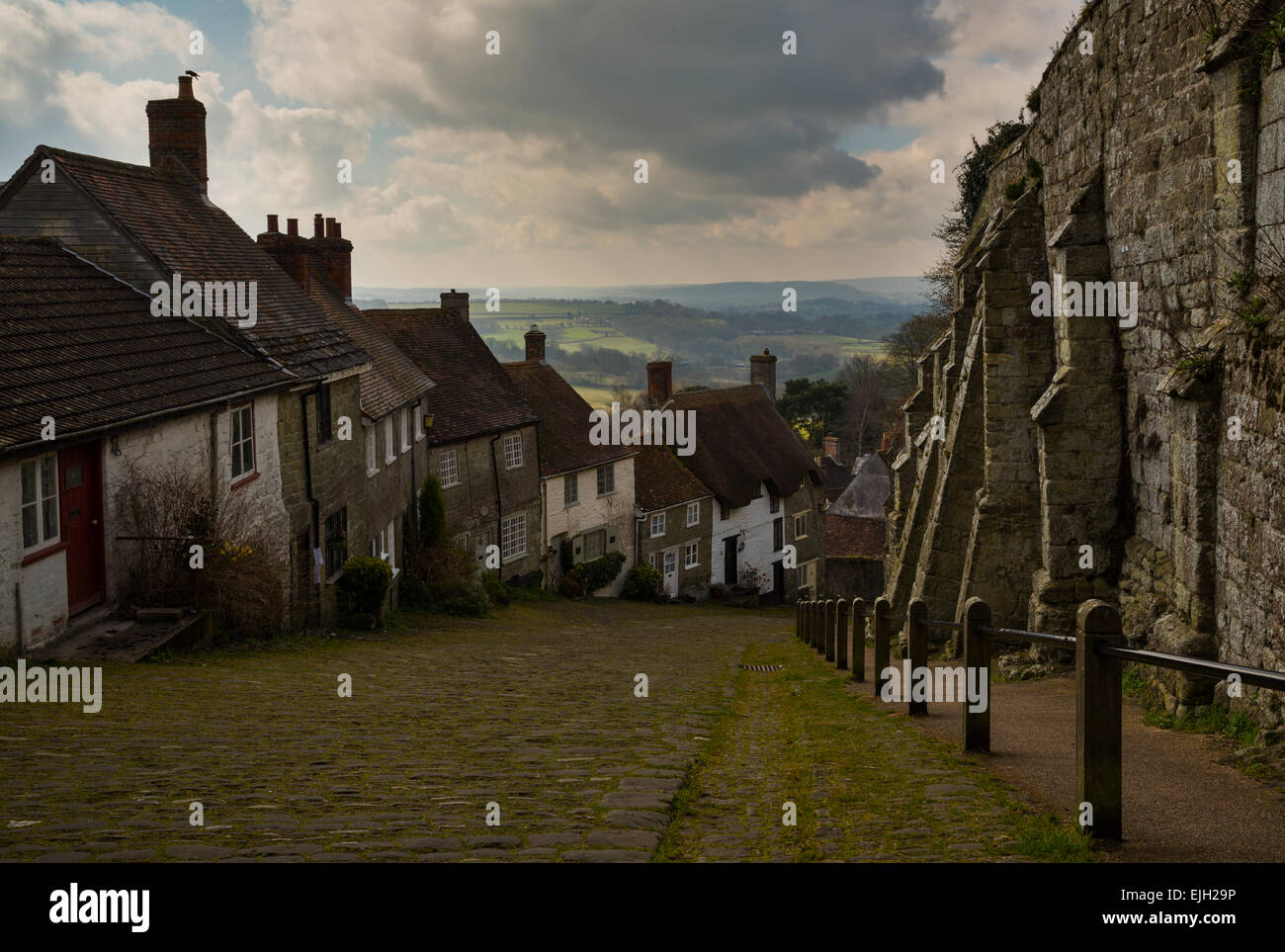 The famous gold hill in shaftesbury dorset - Stock Image