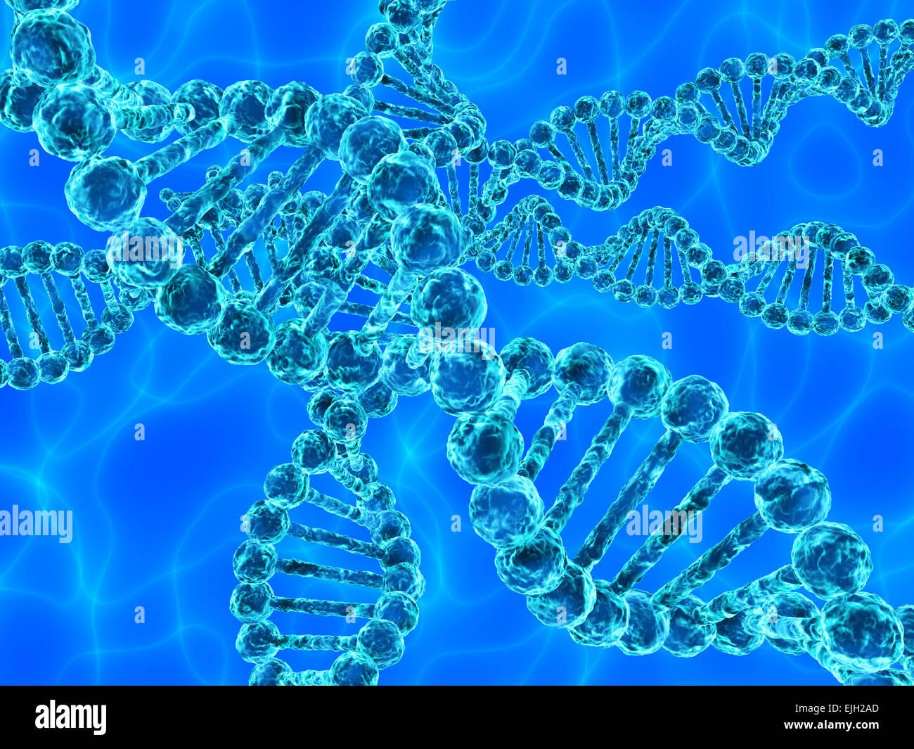 Illustration of blue DNA (deoxyribonucleic acid) - Stock Image